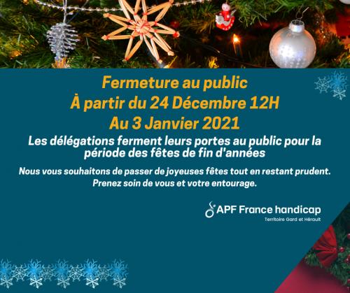 #apffrancehandicap,#fermeture,#aupublic,#periodedesfetes